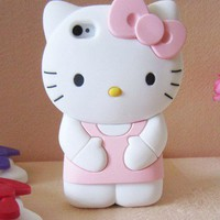 1000 pcs 3D Cute Soft Silicone Hello Kitty Case For iPhone 4 G 4G 4S Cover Skin