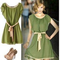 Lotus leaf sleeve nip-waisted dresses