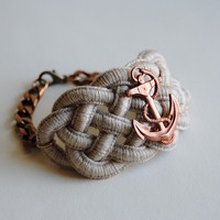 Anchor Bracelet  Sailor's Knot Cuff with Vintage by SPARKLEFARM