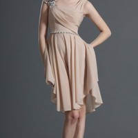 Champagne A-line Knee-length Scoop Dress [5252171] - $204.00 : dressoutletstore.co.uk, Wedding Dresses Outlet
