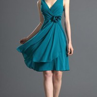 Blue A-line Knee-length V-neck Dress [2686826] - $71.00 : dressoutletstore.co.uk, Wedding Dresses Outlet
