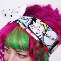 Reversible Wired Bow Headband, Kiss Me Comic Strip and White with Black Polka Dot