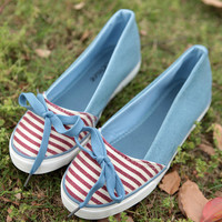 Denim Bowknot Lace-up Canvas Shoes