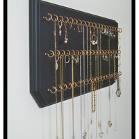 9x24-Black 67-Gold, Jewelry Organizer Necklace Holder with 67 Coated Jewelry Hooks Assembled.