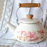Ivory Enamelware Tea Kettle with Pink Flowers &amp; hinged wood and metal handle