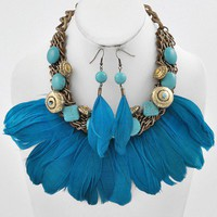 Turquoise Feather Necklace Fish Hook Earring Set BeadsFeathers brass blue Any Age Female | BellyByLucyALia - Jewelry on ArtFire