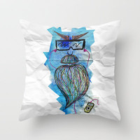 Bearded man Throw Pillow by Li9z