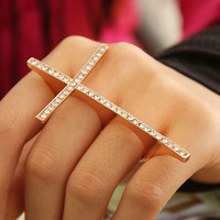 Rhinestone Double Finger Adjustable Cross Ring