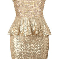 Gold Peplum Dress | Sequin Party Dresses | Rickety Rack