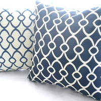 Navy ivory fretwork/lattice pillow set (2) Pillows