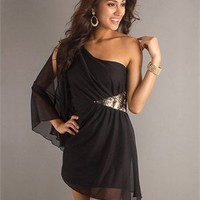 one long sleeve A-line black Mini with Tulle and Prom Dress PD0305