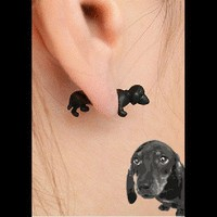 Neon Fashion 3D Puppy Single Ear Stud | LilyFair Jewelry
