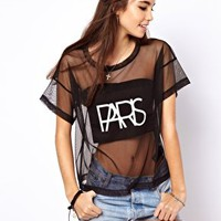 ASOS T-Shirt in Mesh with Paris Print at asos.com