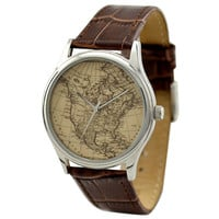 Vintage Map Watch (America) in Silver