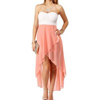 White/Peach Strapless Hi Low Dress