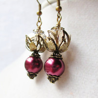 Purple Pearl &amp; Champagne Crystal Vintage Style Earrings