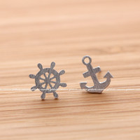 girlsluv.it - small ANCHOR and wheel NAUTICAL stud earrings, 2 colors