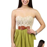 crochet floral lace gauze strapless sweetheart neck gauze skirt day dress  - 1000045354 - debshops.com