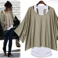 Women's Khaki Bat Sleeve Loose Fashion T-shirt Vest