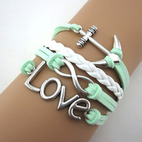 Mint green anchor ring bracelet,infinity bracelet, leather, Birthday gift, girlfriend gift,A3