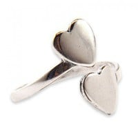 Handmade Gifts | Independent Design | Vintage Goods Sterling Silver Double Hearts Ring - Rings - Jewelry - Girls