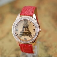Eiffel Tower Watch, Fashion Wrist Watch Red Artificial Leather Watch, Retro Style Women&#x27;s Watch, Everyday Wrist Watch PB0172
