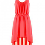LOVE Watermelon Pleat Neck Asymmetrical Midi Dress - Love