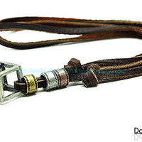 Brown real Leather and alloy pendant adjustable necklace mens necklace  unisex necklace cool necklace B205