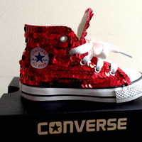 Children&#x27;s red sequined converse