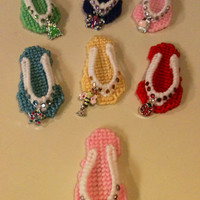 set of flip flop magnets needlepoint plastic canvas