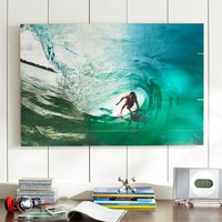 Chris Burkard Photo Real on Wood, Surfer Wave