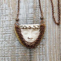 Statement Necklace Sleeping Face Brass pendant on chains