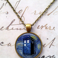 Doctor Who Necklace,Tardis, Police Box, Dr Who, Dalek, Gallifreyan, Spacey Wacey, Timey Wimey, Blue T652