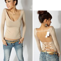 Krazy Sexy Club Cocktail Party Evening Tops Tees #9891 Nude