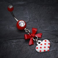 Polka Dot Heart and Bow Belly Button Ring