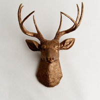 White Faux Taxidermy - Faux Deer Head - The Bennett - Bronze Resin Deer Head- Stag Resin Bronze Faux Taxidermy- Chic &amp; Trendy