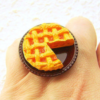 Kawaii Food Ring Apple Pie Miniature Food Ring by SouZouCreations