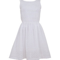 White Broderie Stripe Sun Dress