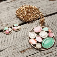 Geometric Enamel Necklace Set - Gold & Multi from Jewelry & Accessories at Lucky 21 Lucky 21