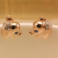 Cute Rhinestone Elephant Earrings