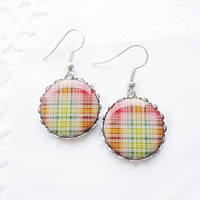 Red yellow green plaid earrings by CitrusCat on Etsy