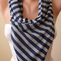 Mother's Day - Grey - Dark Blue Sriped Scarf - Combed Cotton - Trend