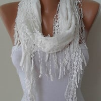 Trendy - Valentines Day -Creamy White Shawl and Scarf with White Trim Edge