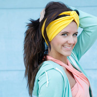 Jersey Knit Upcycled headband in Yellow by BglorifiedBoutique
