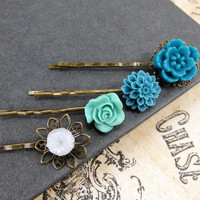 Flower Bobby Pins, Aqua Blue Bobbies Set , Spring Wedding Accessories by Flower Couture