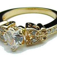 Engagement Ring - Heart Shape Diamond Butterfly Vintage Engagement Ring  0.16 tcw. In Yellow Gold - ES334HSYG