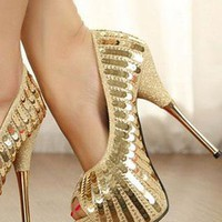 Ladies HighHeel Fashion Glitter Sequin Evening Shoes GOLD from NaomiShu