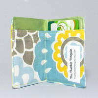 Mini Wallet - Blue Yellow Floral - Spring Flowers Green - Small Wallet Business Card Holder