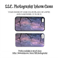 DISCONTINUING 5/6/13 Starry iphone case. purple. iphone 5 case. 4s case. iphone 4 case. moon. stars. dreamy. girly. surreal. tree. branches