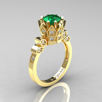 Classic Armenian 18K Yellow Gold 1.0 Emerald Diamond Bridal Solitaire Ring R405-18KYGDEM